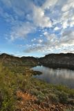 Tonto National Forest - 2019_01.14: Quiet cloudy day at Saguaro Lake.  royalty free stock photos