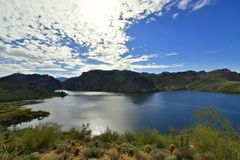 Tonto National Forest - 2019_01.14: Quiet cloudy day at Saguaro Lake.  royalty free stock images