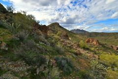 Tonto National Forest - 2019_01.14: Quiet cloudy day at Saguaro Lake.  stock photography