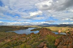 Tonto National Forest - 2019_01.14: Quiet cloudy day at Saguaro Lake.  stock image