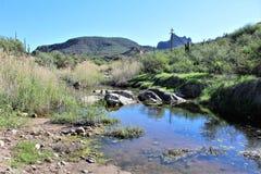 Tonto National Forest scenic view from Mesa, Arizona to Canyon Lake Arizona, United States. Scenic landscape and vegetation view from Mesa, Arizona to Canyon stock image