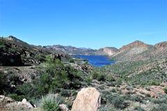 Tonto Nationale Bos toneelmening van Mesa, Arizona aan Canionmeer Arizona, Verenigde Staten stock foto