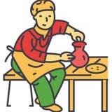 Tonwarenhobby, Töpfer, Ceramist, in Handarbeit machender Lehm, keramisches Arbeitskonzept lizenzfreie abbildung