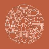 Tonwarenwerkstatt, Keramik klassifiziert Fahnenillustration vektor abbildung