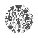 Tonwarenwerkstatt, Keramik klassifiziert Fahnenillustration Vektor Glyphikone von Lehmstudiowerkzeugen Handgebäude stock abbildung