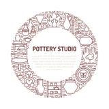 Tonwarenwerkstatt, Keramik klassifiziert Fahnenillustration Vektorlinie Ikone von Lehmstudiowerkzeugen Handgebäude lizenzfreie abbildung