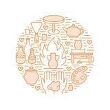 Tonwarenwerkstatt, Keramik klassifiziert Fahnenillustration Vektorlinie Ikone von Lehmstudiowerkzeugen Handgebäude vektor abbildung