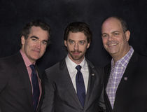 2015 Tony Awards Meet the Nominees Press Junket. Actors Brian d'Arcy James, Christian Borle, and Brad Oscar arrive on the red carpet for the 2015 Tony Awards Stock Images