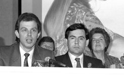 Tony Blair u. Gordon Brown Stockfotografie