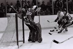 Tony Esposito Chicago Blackhawks goalie. Former Chicago Blackhawks Hall of Fame goalie Tony Esposito #35. ( Image taken from B&W negative royalty free stock photography