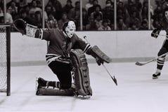 Tony Esposito Chicago Blackhawks goalie. Former Chicago Blackhawks Hall of Fame goalie Tony Esposito #35. ( Image taken from B&W negative Royalty Free Stock Photo