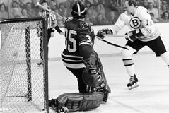 Tony Esposito Chicago Blackhawks goalie. Former Chicago Blackhawks Hall of Fame goalie Tony Esposito #35. ( Image taken from B&W negative stock photo