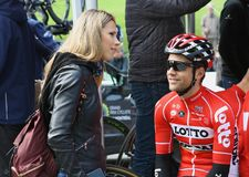 Tony Gallopin Marion Rousse przy Montreal Uroczysty Prix Cycliste na Wrześniu 9 2017 i żona Zdjęcia Stock