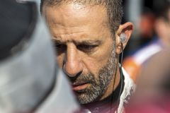 IndyCar:  June 07 DXC Technology 600. TONY KANAAN 14 of Brazil prepares to qualify for the DXC Technology 600 at Texas Motor Speedway in Ft Worth, Texas royalty free stock images