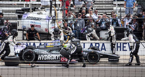 Tony Kanaan's Last pit before winning Indy 500 2013 royalty free stock photo