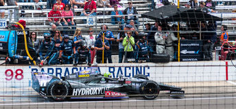 Tony Kanaan's Last pit before winning Indy 500 2013. Winning race driver Tony Kanaan's last Pit Stop before wining the Indianapolis Grand Prix on Sunday, May 26 royalty free stock photography
