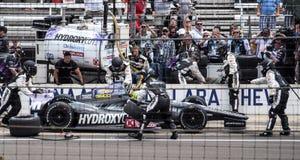 Tony Kanaans letzte Grube, bevor Indy 500 2013 gewonnen wird Lizenzfreies Stockfoto