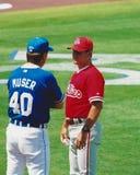 Tony Muser y Larry Bowa Imagenes de archivo