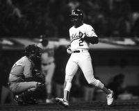 Tony Phillips, Oakland A's. Oakland A's infielder Tony Phillips crosses the plater against the Los Angeles Dodgers in World Series action. (Image taken from B&W Royalty Free Stock Image