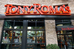 Tony Roma's Restaurant Exterior and Logo. Stock Image