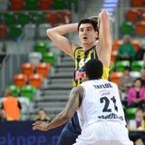 Tony Taylor a Emir Preldzić. LUBIN 23/10/2014 _ 2nd round Euroleague basketball match between the PGE Turow Zgorzelec and Fenerbahce Ülker Istanbul stock image