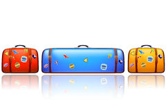 Too big suit case. Illustration of three old suit cases different color with stickers on white with very wide suitcase Royalty Free Stock Image
