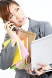 Too busy business woman. Concept shot of Japanese businesswoman Stock Photos