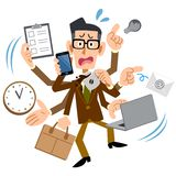 Too busy man with brown jacket wearing glasses royalty free illustration