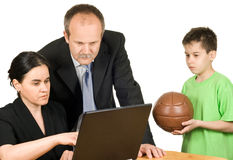 Too busy parents. Who don't have time to play with their son Royalty Free Stock Photo