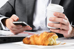 Too busy to eat breakfast Royalty Free Stock Photos