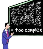 Too Complex. Cartoon of businessman at blackboard with complicated symbols and plans, it is too complex Stock Photography