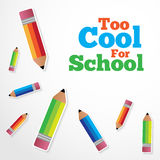 Too Cool for School Vector Background. With Paper Pencils royalty free illustration
