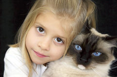 Too Cute Girl and Kitty Stock Image