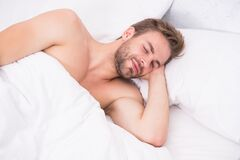 Free Too Early. Good Nap. Time To Rest. Male Health And Bachelor Lifestyle. Man Fast Sleep. Relaxing In Bedroom. Energy And Royalty Free Stock Photos - 169124288