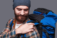 Too heave backpack. Royalty Free Stock Image