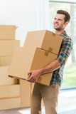 Too heavy boxes. Stock Photo