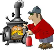 Too hot. This illustration that I created depicts a man using a fire extinguisher on a wood stove Stock Images