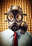 Too late. Portrait of businessman skull wearing classic gas mask Royalty Free Stock Image