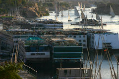 Too many boats on the Nile. The crowed Nile in Aswan with many parked boats Stock Photo