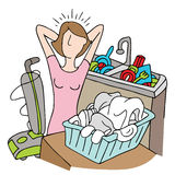Too Many Chores Woman. An image of a woman with too many chores Royalty Free Stock Image