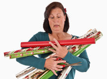Too Many Christmas Rolls To Carry Stock Images