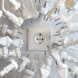 Too Many Electric Plugs are Fighting for Power Royalty Free Stock Images