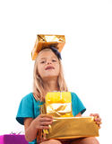 Too many gifts - spoiled kid Royalty Free Stock Photo