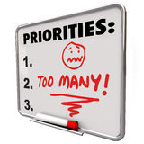 Too Many Priorities Overwhelming To-Do List Tasks Jobs royalty free illustration