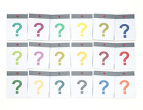 Too Many Questions. Pile of colorful paper notes with question Royalty Free Stock Images