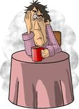 Too Much Coffee. This illustration that I created depicts a man with a frazzled expression, sitting at a table drinking coffee stock illustration