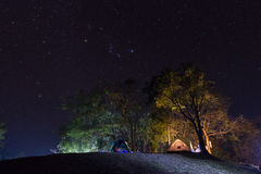 Stars over camping royalty free stock images