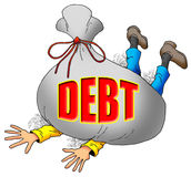 Too Much Debt. Cartoon Image of Someone Being Weighed Down by Too Much Debt Royalty Free Stock Photo