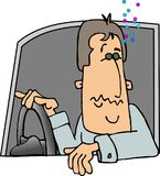 Too much fun. This illustration that I created depicts a man driving a car who's had too much to drink Stock Image