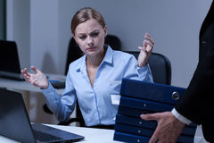 Too much paperwork. In the office, horizontal Stock Photography